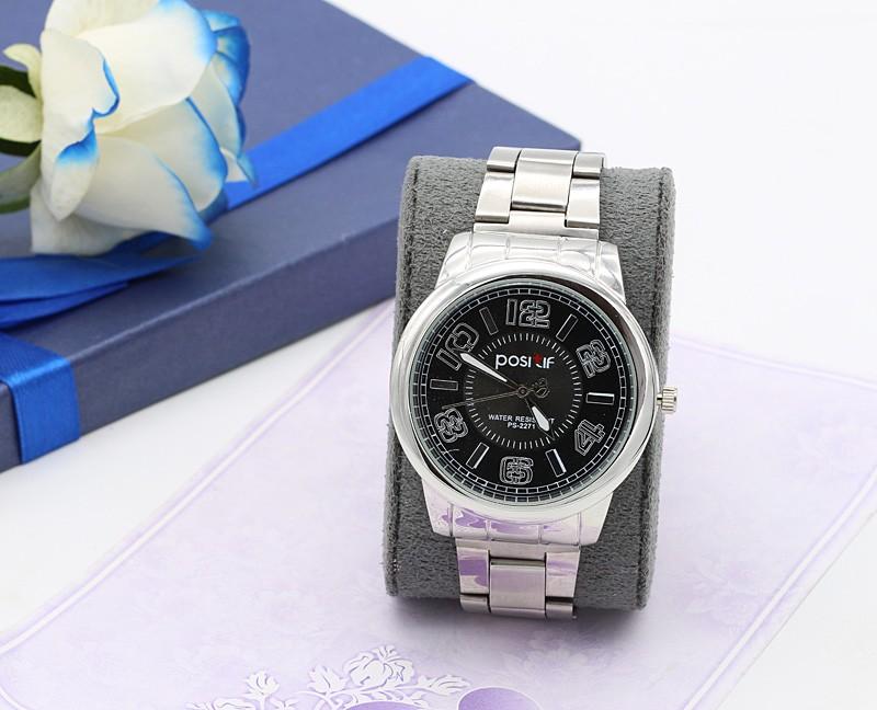 ساعت مچی مردانه شیک استیل نقره ای رنگ ضد آب با صفحه مشکی مدل F241