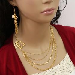 نیم ست زنانه استیل طلایی رنگ با آویز قلب و سینه ریز مدل T268