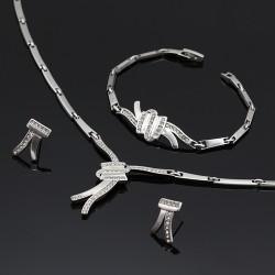 سرویس کامل گردنبند گوشواره و دستبند نقره ای رنگ مدل K118