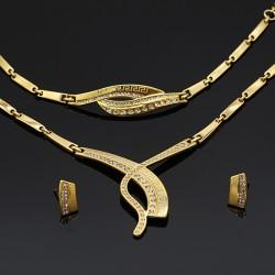 سرویس کامل گردنبند گوشواره و دستبند نقره ای رنگ مدل K120