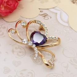 گل سینه زنانه شیک کریستالی با طرح پروانه مدل S151