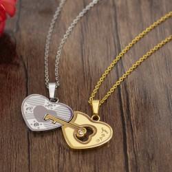 گردنبند عشق و دوستی دو تکه طرح قلب جنس استیل مدل N506