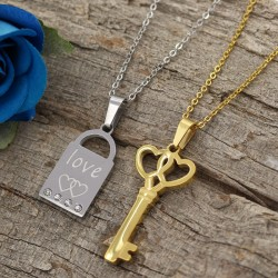 گردنبند دوستی دو تکه قفل و کلید جنس استیل نقره ای و طلایی مدل N509