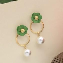 گوشواره استیل شیک با رنگ طلایی و گل سبز مدل E176