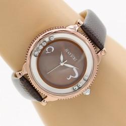 ساعت مچی زنانه شیک با بند چرمی قهوه ای مدل F273