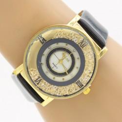 ساعت مچی زنانه با بند مشکی و بدنه ی طلایی مدل F274