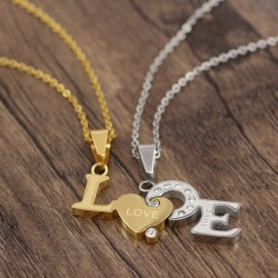گردنبند دوستی دو پلاکه طرح Love جنس استیل طلایی و نقره ای مدل N523