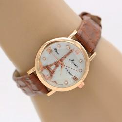 ساعت مچی زنانه شیک با بند چرمی قهوه ای مدل F285