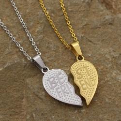 گردنبند دوستی دو پلاکه طرح قلب جنس استیل طلایی نقره ای مدل N531