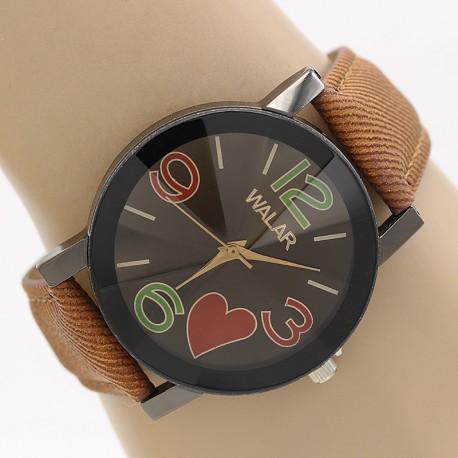 ساعت مچی زنانه با بند کتان قهوه ای و طرح قلب مدل F302