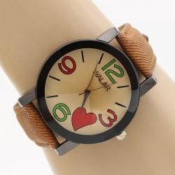 ساعت مچی زنانه با بند کتان قهوه ای و طرح قلب مدل F303
