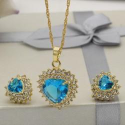 نیم ست زنانه کریستالی طرح قلب با سنگ آبی مدل T294
