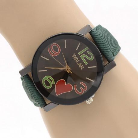 ساعت مچی زنانه با بند کتان سبز و طرح قلب مدل F313