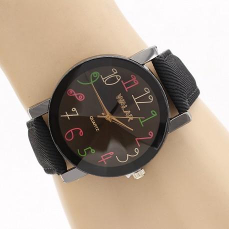 ساعت مچی زنانه با بند کتان مشکی اسپرت مدل F314