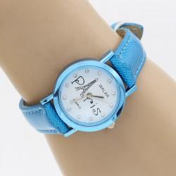 ساعت مچی دخترانه طرح پاریس با بند آبی مدل F317