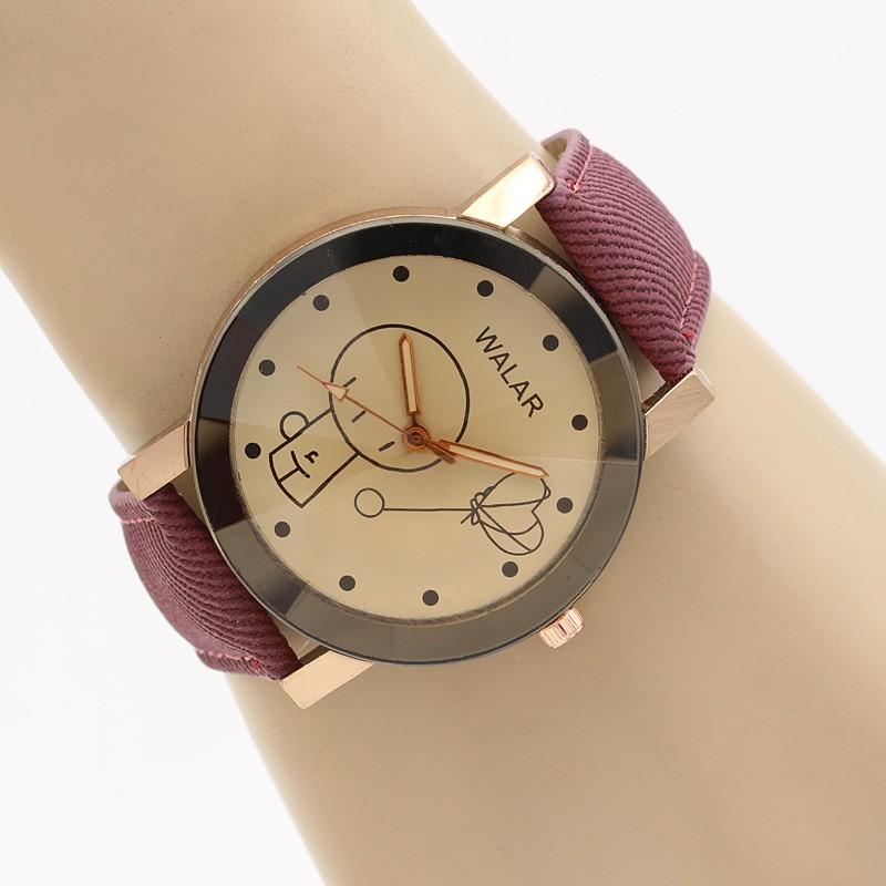 ساعت مچی زنانه با بند کتان زرشکی مدل F318
