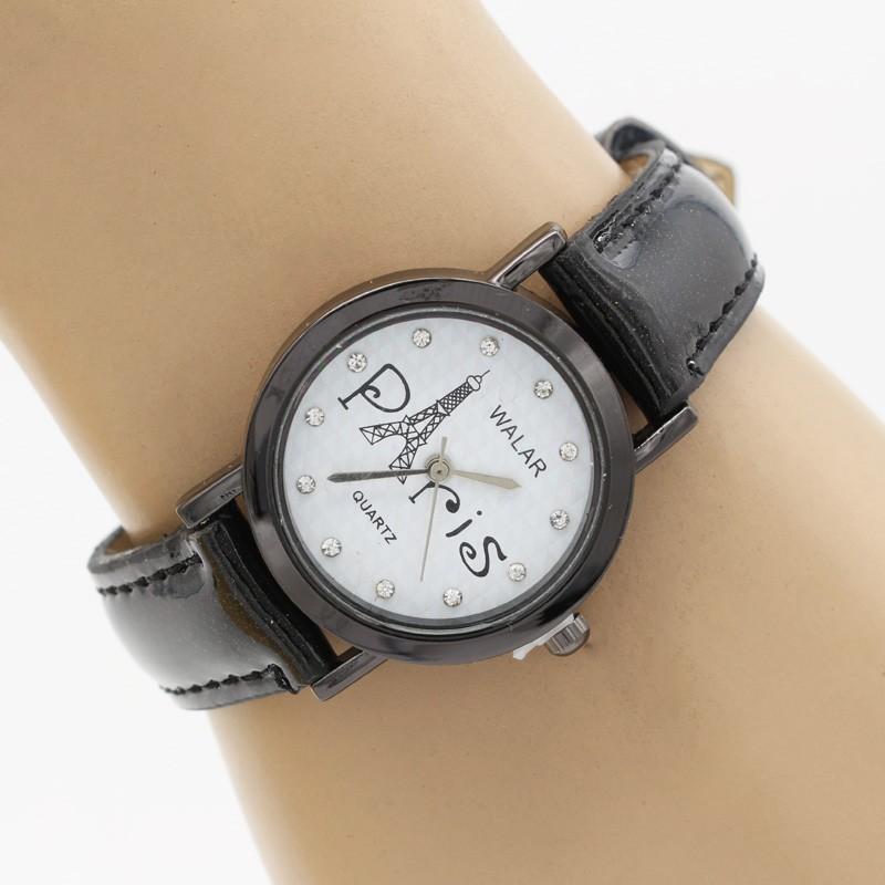 ساعت مچی زنانه با بند مشکی طرح پاریس مدل F319