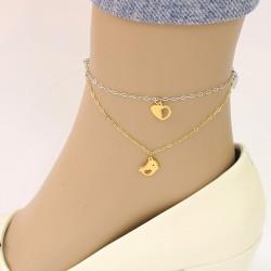پابند دو زنجیره با آویز قلب و پرنده جنس استیل طلایی و نقره ای رنگ مدل P171