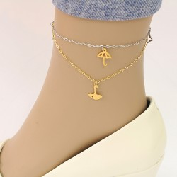 پابند دو زنجیره با آویز چتر جنس استیل طلایی و نقره ای رنگ مدل P173
