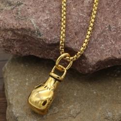 گردنبند بدنسازی طرح بوکس جنس استیل و رنگ طلایی مدل N589