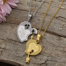 گردنبند دوستی دو پلاکه طرح قلب جنس استیل نقره ای و طلایی مدل N601