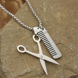 گردنبند قیچی و شانه با جنس استیل و رنگ نقره ای مدل N613