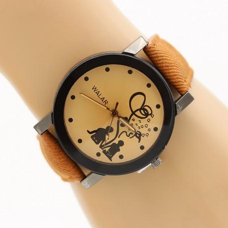ساعت مچی زنانه با بند جین قهوه ای مدل F325