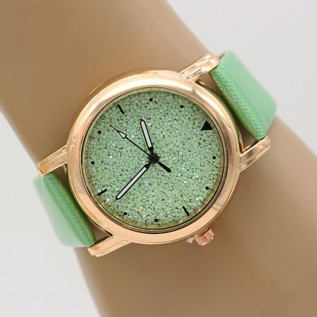 ساعت مچی زنانه اکلیلی با بند سبز مدل F330