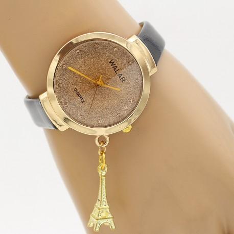 ساعت مچی زنانه با آویز برج ایفل و بند مشکی مدل F332