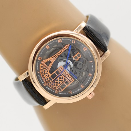 ساعت مچی زنانه با طرح برج ایفل بند مشکی مدل F340