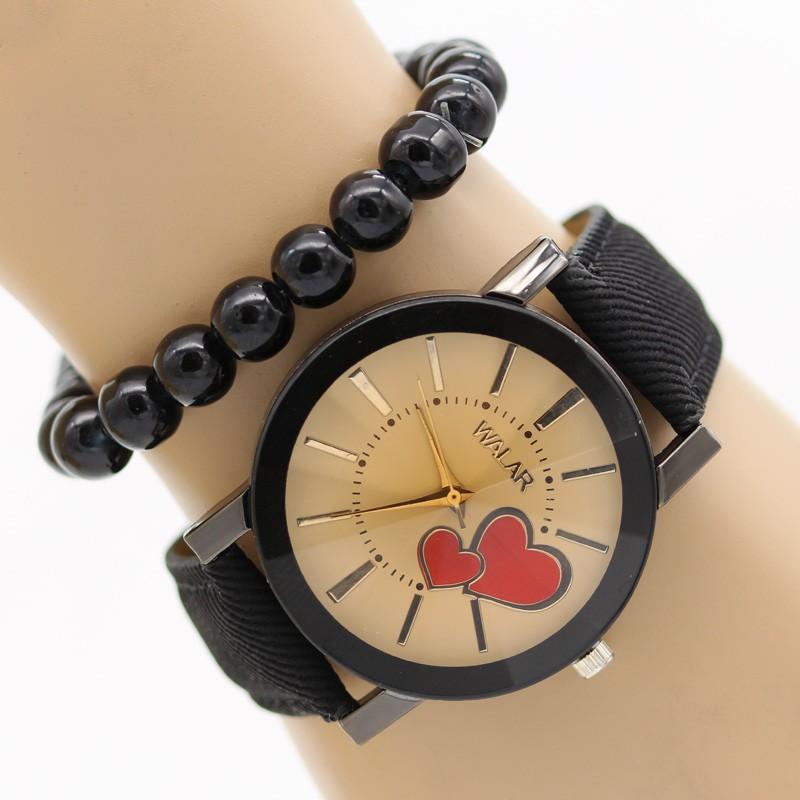 ساعت مچی زنانه با بند جین طرح قلب مدل F342