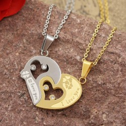 گردنبند دوستی دو پلاکه طرح قلب جنس استیل نقره ای و طلایی مدل N627
