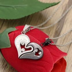 گردنبند دوستی دو پلاکه طرح قلب جنس استیل نقره ای و مشکی مدل N628