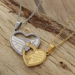 گردنبند دوستی دو پلاکه طرح قلب جنس استیل نقره ای و طلایی مدل N633