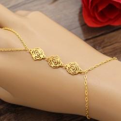 تمیمه استیل طلایی رنگ طرح گل مدل B364