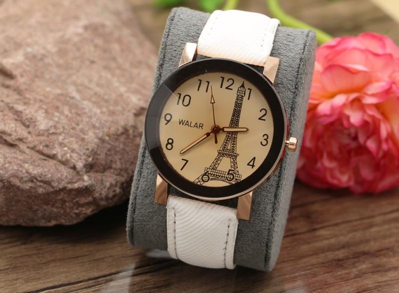 ساعت مچی زنانه با بند جین سفید طرح برج ایفل مدل F377