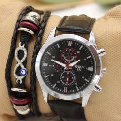 ساعت مچی زنانه با بند چرمی مشکی مدل F387