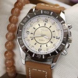 ساعت مچی زنانه با بند قهوه ای مدل F389