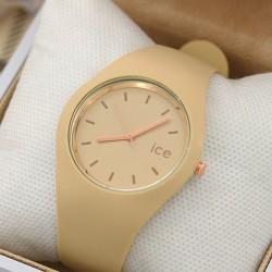 ساعت مچی زنانه با بند ژله ای کرمی رنگ مدل F415
