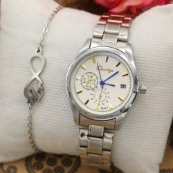 ساعت مچی استیل تقویم دار و ضد آب مدل F617