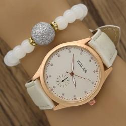 ساعت مچی زنانه با بند سفید مدل F696